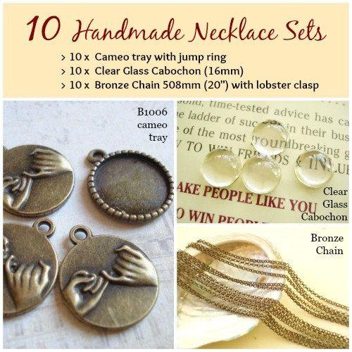10 Handmade Photo Cabochon Necklace kit sets 18mm by yooounique #handmade #cabochon #necklace #chain #glass #nice #kit #craft #new