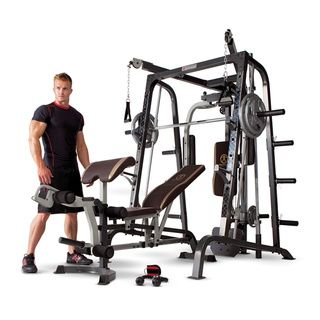 Get a professional gym workout from home with this Marcy Diamond Elite Smith Cage gym. This gym combines pulleys and free weights to give you the ultimate full body workout experience. Smith style pre