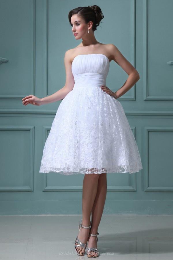 Ruffles A-line Strapless Knee Length Summer Wedding Dress