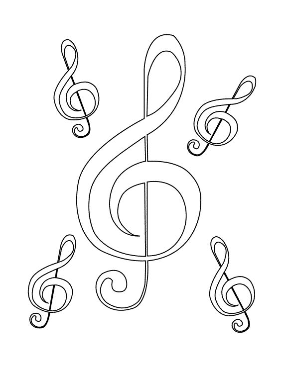 This is a picture of Astounding Treble Clef Coloring Page