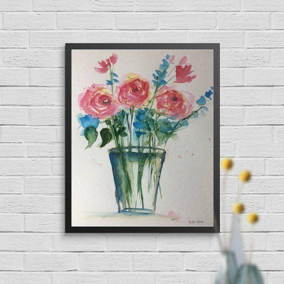 Ursprüngliche Aquarellaquarellmalereibild-Kunstblumen im Vase blüht Aquarell