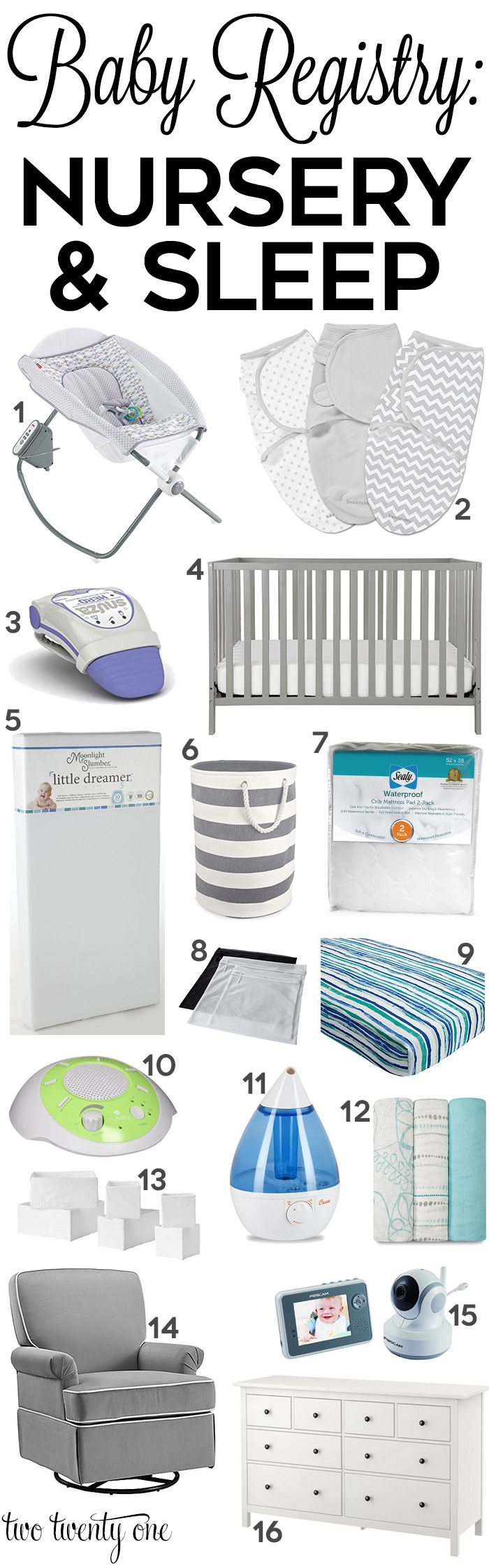 Nowhere near all of these, but good ideas. Must have nursery and sleep products to add to your baby registry!