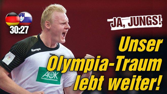 Das dt. Team sichert sich durch einen 30:27-Erfolg über Slowenien den Quali-Platz f.d.olympischen Spiele! Well,who prayed lol+not for nothing today(luckily didnt work)  watched the live-ticker+prayed too ;-D http://www.bild.de/sport/mehr-sport/deutsche-handballnationalmannschaft/unser-olympia-traum-lebt-weiter-39580160.bild.html…