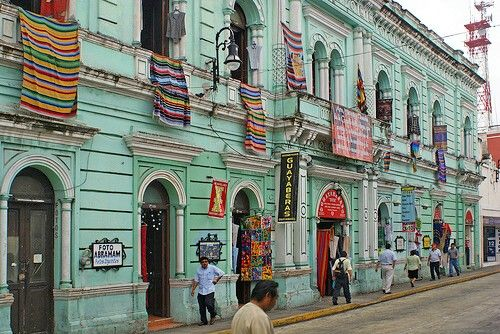"""Merida Mexico... This building is amazing and used to be a famous hotel.  Inside is the """"best Mayan gift shop"""" but so was shopping in the villages outside of the city."""