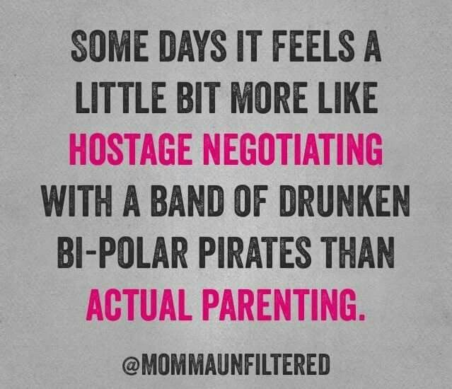 Some days it feels a little bit more like hostage negotiating with a band of druken bi-polar pirates than actual parenting