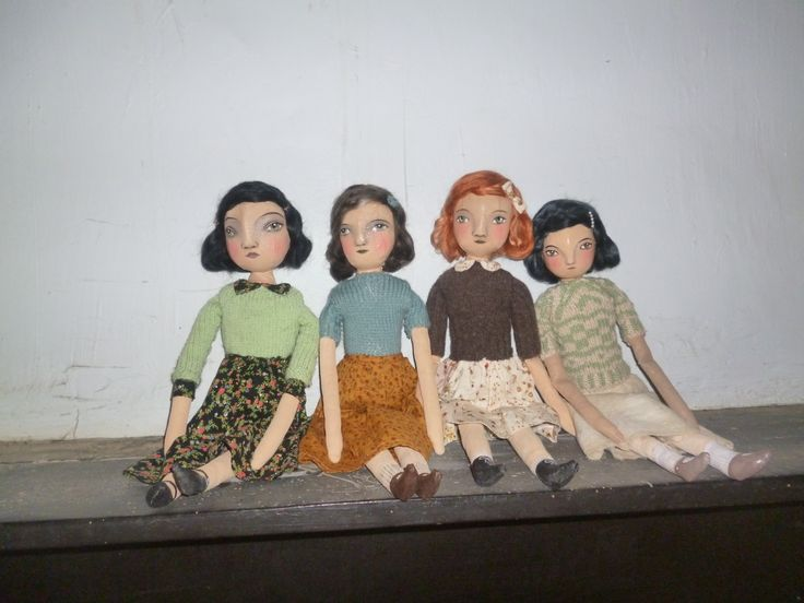 Four dolls cloth with paperclay under fabric on faces
