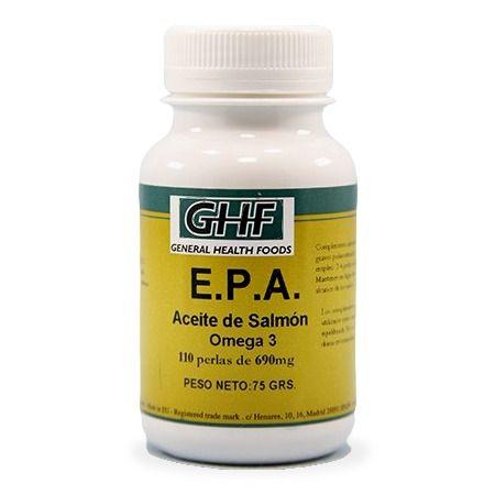 E.P.A. (OMEGA-3) - GHF. Complemento alimenticio rico en ácidos grasos Omega 3. Representa un gran aporte de ácidos grasos esenciales omega-3 poliinsaturados.