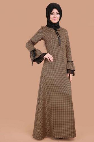 ** SONBAHAR / KIŞ ** Kazayağı Desen Volan Kol Elbise Hardal Ürün Kodu: BRN81475 --> 99.90 TL