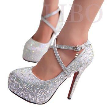 Bal talons chaussures de mariage femmes talons hauts cristal chaussures à talons hauts plateformes femme strass argent pompes de plate - forme