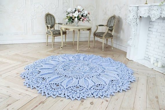 Absolutely Stunning Round Rug 84 1 2 In Doily Rug Lavender Color Carpet Shabby Chic Rug Doily Rug Round Rugs Shabby Chic Rug