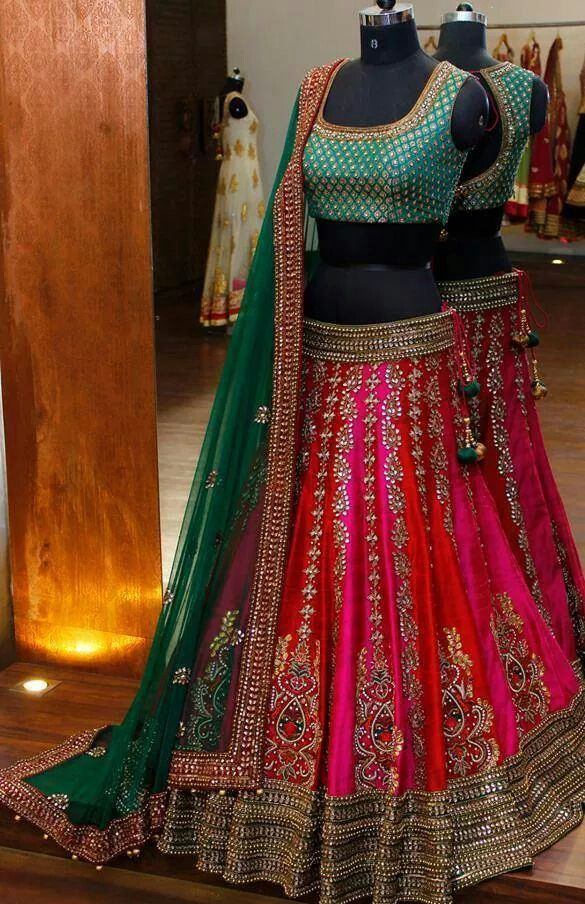 Green and red lehenga. #IndianFashion