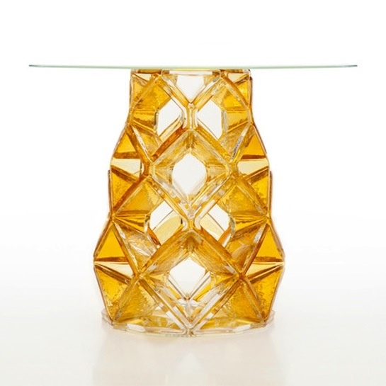 Michael Youngu0027s Homune Table Is Made Entirely Of Crystal, Hand Blown Table  Leg In Amber Color And A Hand Blown Table Top From Clear Crystal
