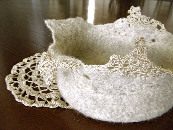 Felting wool onto lace? I must try this. Momoish Ecru Wool Felted Bowl 8.5 x 6.5 by momoish on Etsy, $78.00