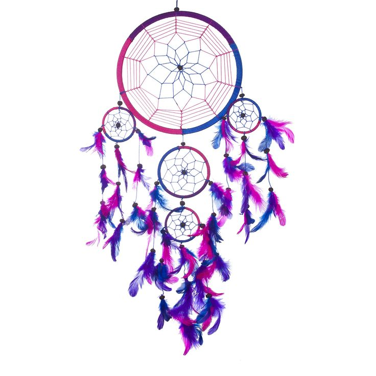 "Dream Catcher ~ Handmade Traditional Royal Blue, Pink & Purple 8.5"" Diameter 24"" Long"