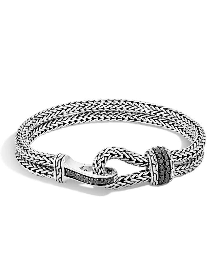 Men's Classic Chain Hook-Station Bracelet, Size: M, SILVER/BLACK - John Hardy