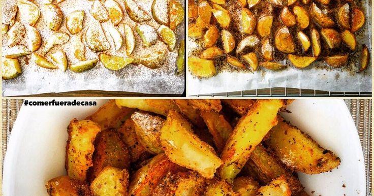 Fabulosa receta para Patatas gajo/deluxe al horno. http://www.comerfueradecasa.com/2016/04/19/patatas-gajo-o-deluxe-receta/