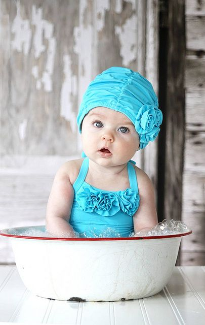 To darn cute for words............Baby in White and Red Enamel Washbasin Wearing Turquoise Ruffled SwimSuit - via cBaase