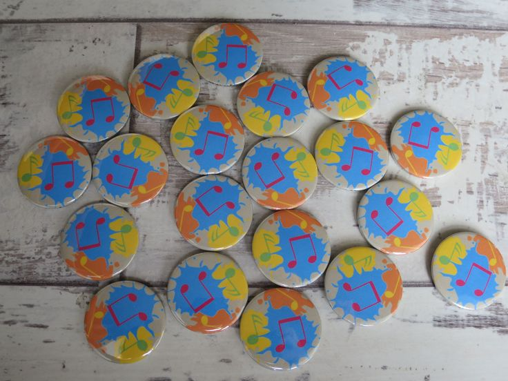 Paint Splash Music Themed Badges 🎵 www.koolbadges.co… #shopsmall #buttonbad… – Music badges