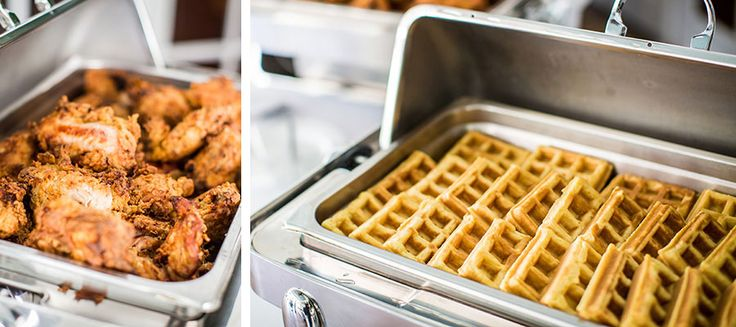 Waffles and chicken, wedding food
