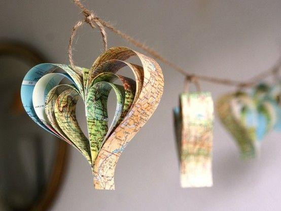 Craft.: Diy Crafts, Heart Garlands, Vintage Maps, Paper Heart, Old Maps, Maps Decor, Maps Heart, Maps Garlands, Diy Projects