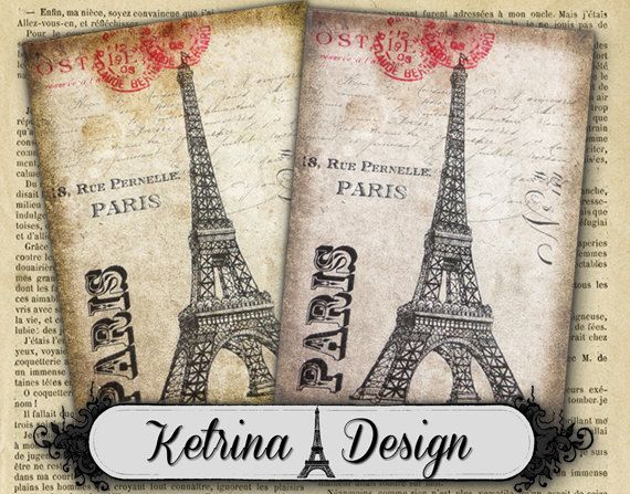 Shabby Chic Paris Eiffel Tower ATC images 2.5 x by KetrinaDesign