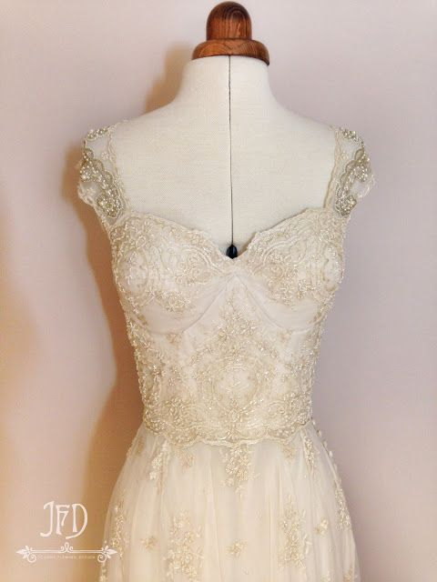Champagne beaded lace and silk chiffon vintage style wedding dress by Joanne Fleming Design