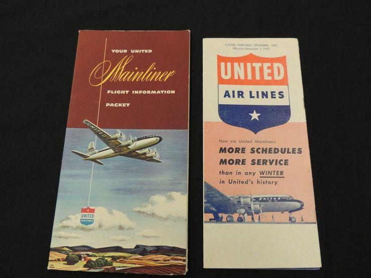1952 United Airlines Schedule 1950's Mainliner Flight Information Packet Folder