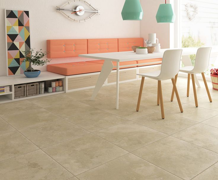 Add porcelain floor tile to your kitchen and dinning areas for easy clean up.