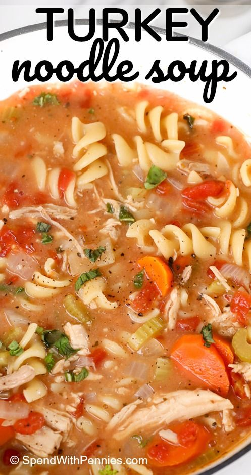 This easy turkey noodle soup is one I've been making for years and years! Tender turkey and vegetables with rotini noodles in a delicious tomato broth.  This homemade turkey noodle soup is one of our all time favorites and the perfect way to enjoy leftover turkey!