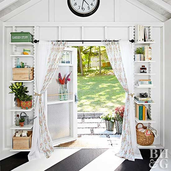 The wall adjacent to shed doors is often neglected when it comes to storage.