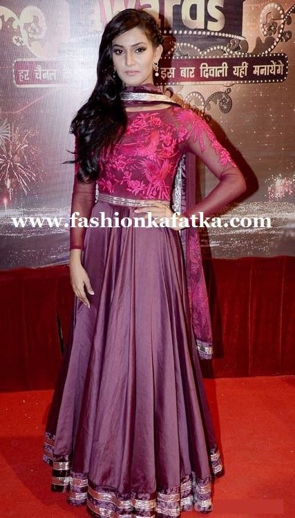 Mukti In Purple Floor Length Anarkali At ITA Awards 2013