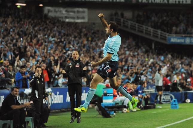 Richard Garcia celebrates scoring the opener against Melbourne Victory and his first goal for Sydney FC.