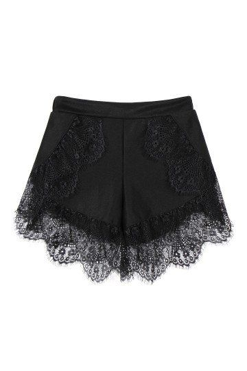 Black lace trim shorts
