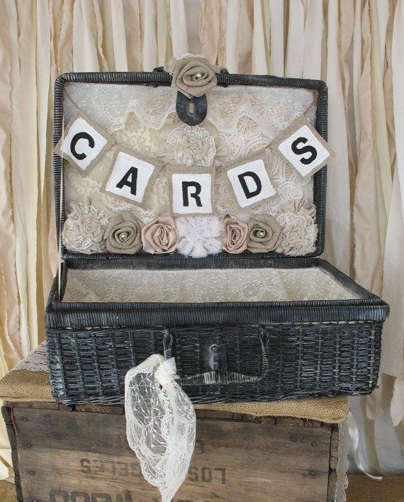 Vintage Wedding Card Holder  Rustic Wedding Picnic Basket Black and White Picnic Basket Linen and Lace Wedding