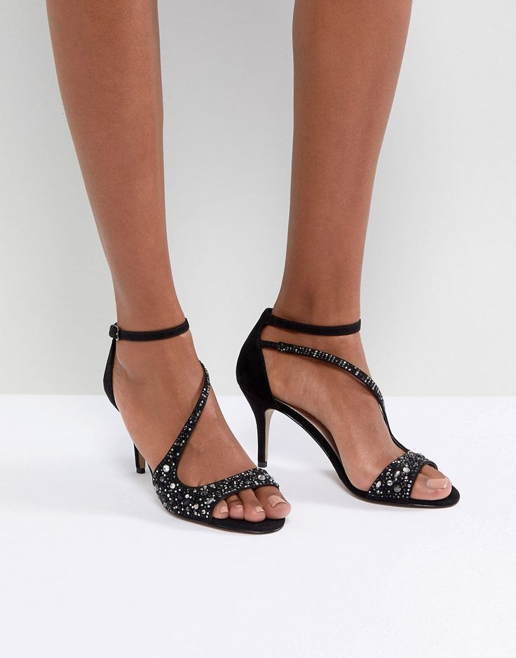 Carvela Cross Strap Jewelled Heeled Sandal - Black