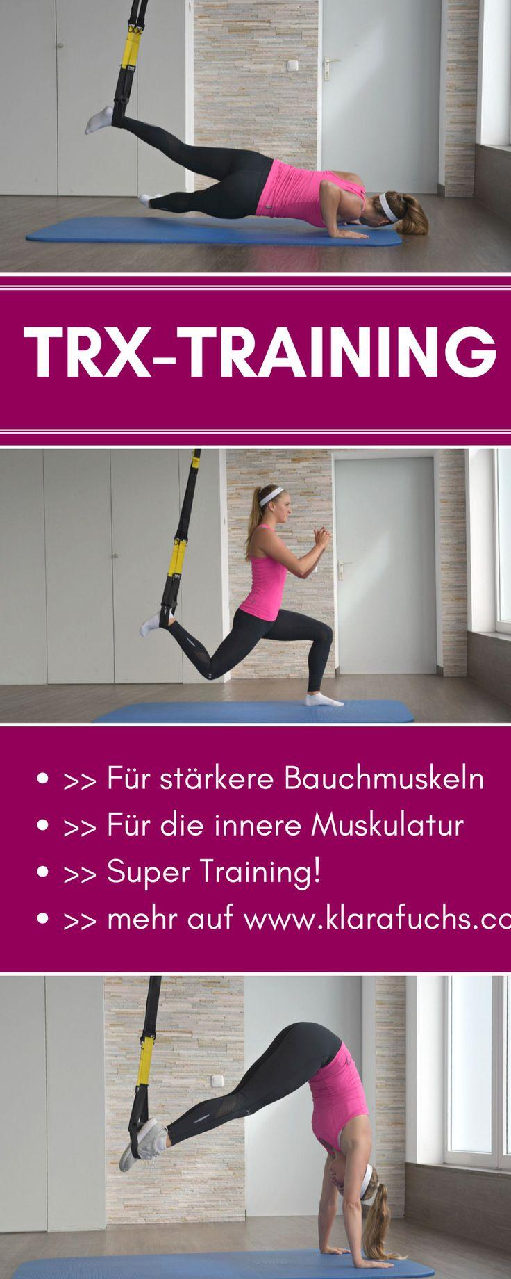 Der große Trend: TRX Training! Damit trainierst du extremst deine Bauchmuskeln und deinen Rumpf. Du trainierst deine innere, tiefer liegende Muskulatur und wirst somit stärker und athletischer. TRX Training kann viel bewirken! Finde Übungen und Anleitungen auf diesem Blog: www.klarafuchs.com