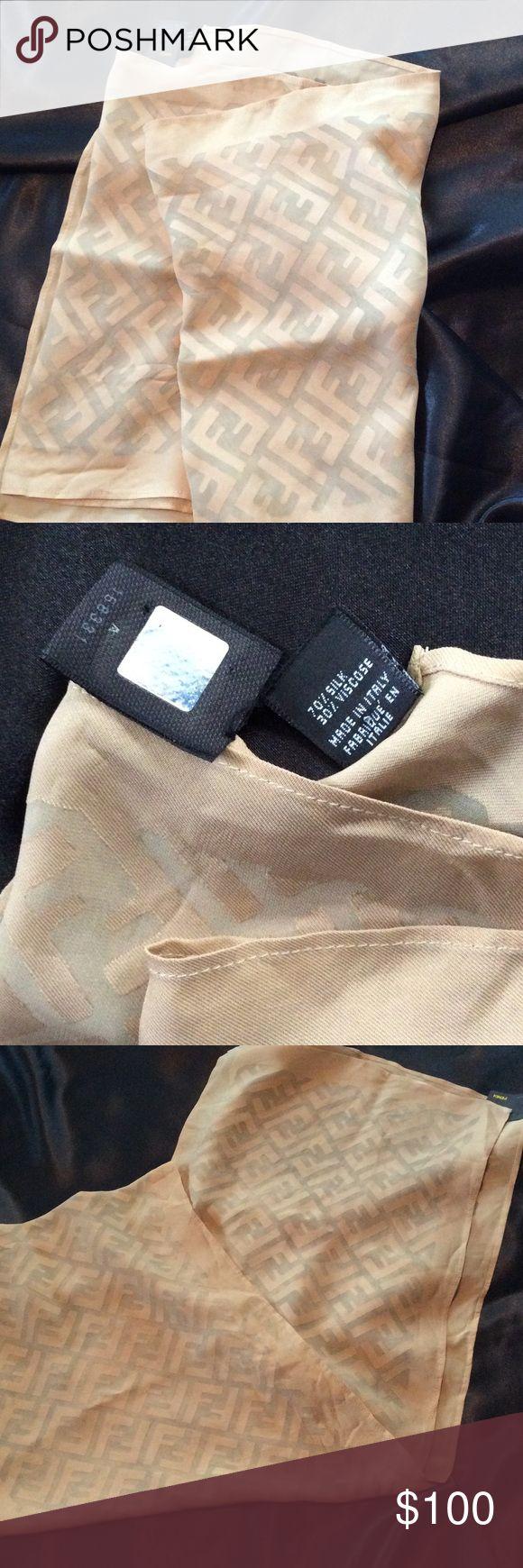 Authentic Fendi Scarf Beautiful Cream Fendi logo oblong silk and viscose scarf. New no tag Fendi Accessories Scarves & Wraps