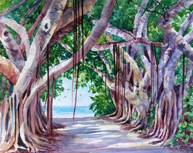 Margaret Huddy, AWS, NWS, Banyan Tree Lane, Boca Grande ...