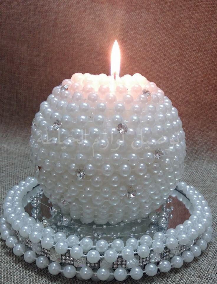 Svíčka • zdobená perličkami