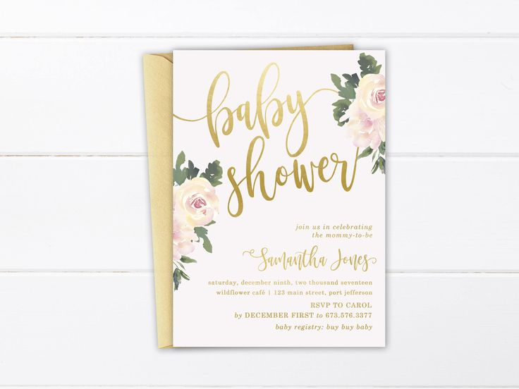 Printable Baby Shower Invitation, Elegant Gender Neutral Baby Shower Suite, Watercolor Floral Invite, Baby Girl Shower Thank You Favor Tags by ShadesOfGrace1 on Etsy