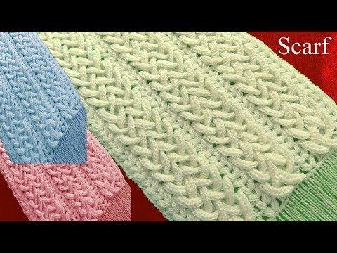 Bufanda a Crochet en punto 3D argollas entrecruzadas tejidos tallermanualperu - YouTube
