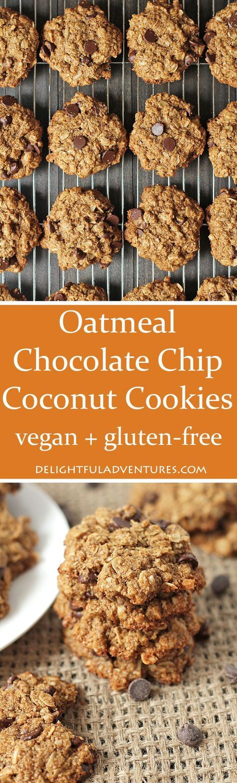 These soft, vegan, gluten free Oatmeal Chocolate Chip Coconut Cookies will satisfy your sweet cravings. Try to eat just one...bet you can't! via @delighfuladv