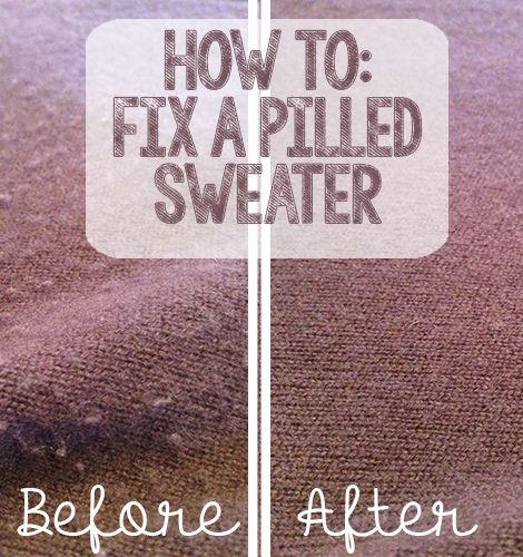 Remove pilling on sweaters. What the Flicka? posted a tutorial for fixing a pilled sweater, and it is so easy! You just use a razor to cut the pilling and then use a lint remover to take off the pilling. What a great trick!