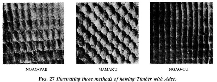examples of different toki-marks left from adzing.