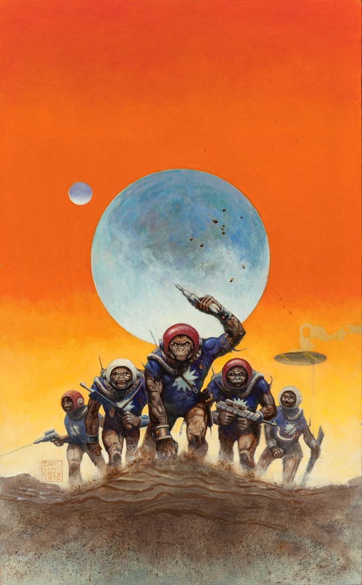 carl lundgren - invasion of the apes, probable science fiction cover, 1972