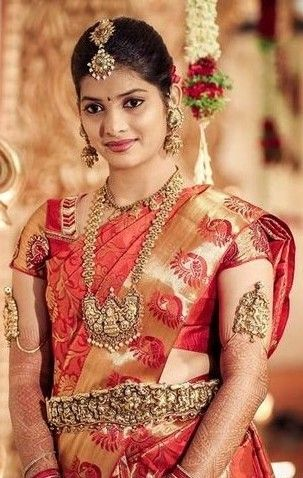SOuth indian bride in parru saree and Temple Jewellary