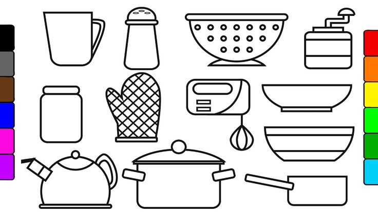 Learn colors for kids with kitchen tools coloring pages, fun coloring vi...