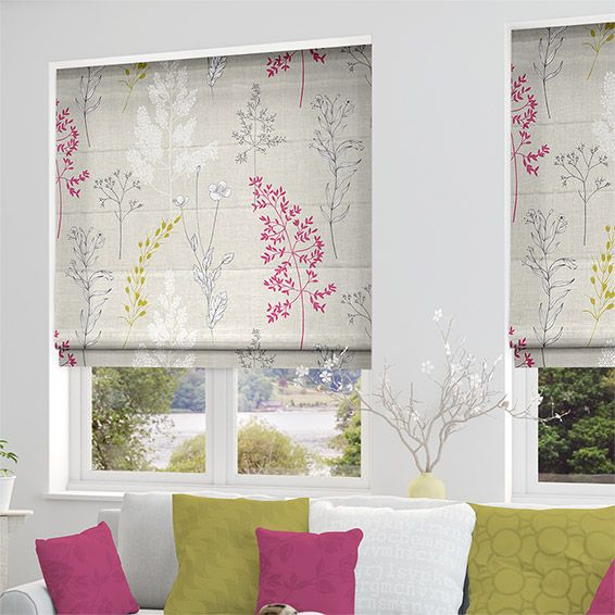 Summer Meadow Magenta Roman Blind from Blinds 2go