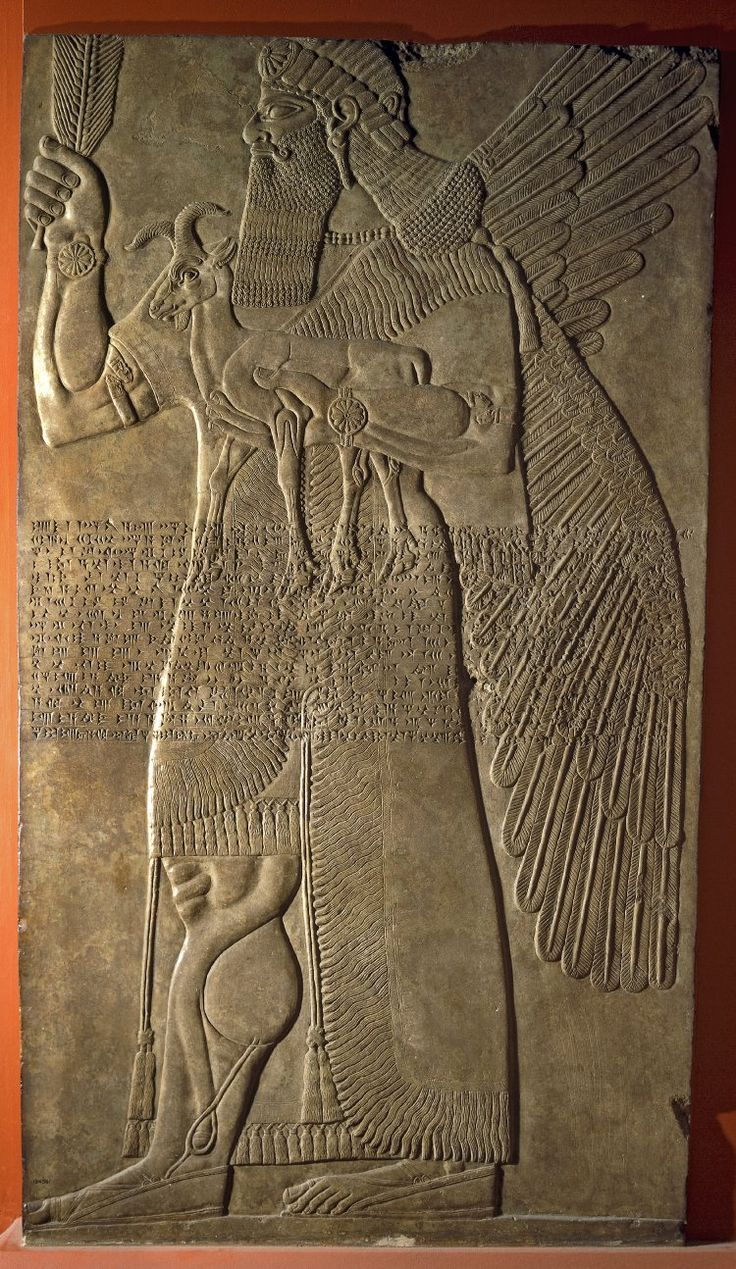Winged protective spirit or apkallu, guarded entrance to king's private quarters, carries goat and giant ear of corn, alabaster wall panel relief, North West Palace, Nimrud, Kalhu, Iraq, neo-assyrian, 875BC-860BC