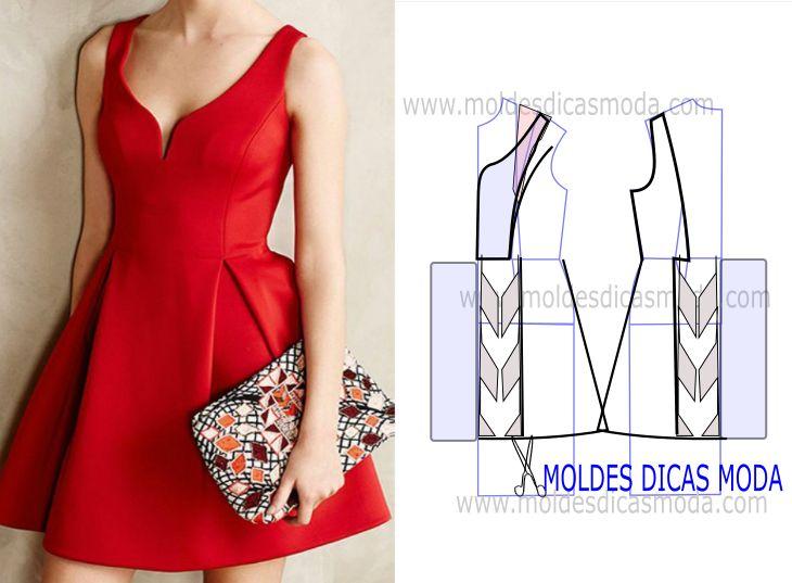 Modelagem de vestido vermelho